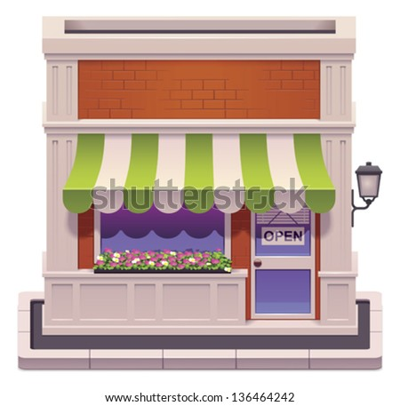 Vector small shop icon - stock vector