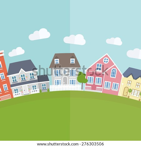 Vector small town background  in flat style. - stock vector