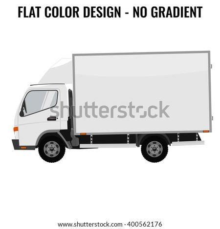 Vector small truck. Cargo delivery. Solid and Flat color  design. White truck car for transportation. Corporate identity. - stock vector