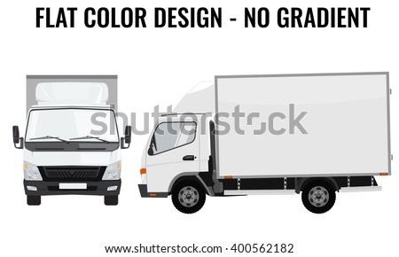 Vector small truck front view and side view. Cargo delivery. Solid and Flat color  design. White truck car for transportation. Corporate identity. - stock vector