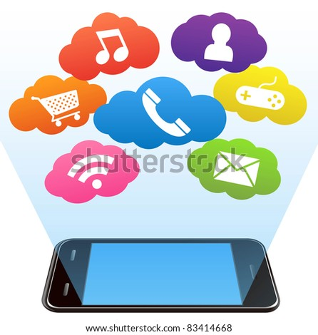 vector smart phone and applications on a white - stock vector