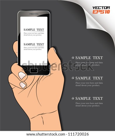 Vector smart phone on hand, can use for business concept, education diagram, brochure object. - stock vector