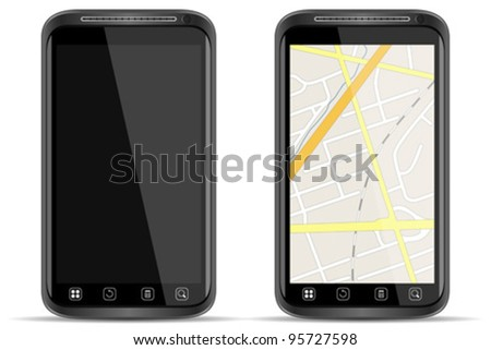 Vector Smart Phone with map on white background - stock vector