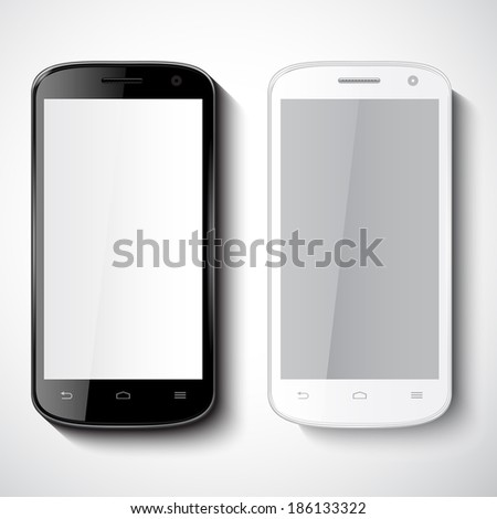 vector smart phones on white background  - stock vector