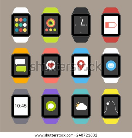 Vector Smart Watch Icons - stock vector