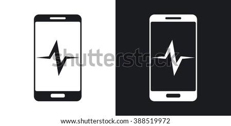 Vector smartphone diagnostics icon. Two-tone version on black and white background - stock vector