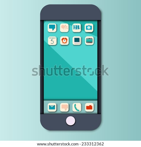 Vector smartphone. Flat style with shadows.  - stock vector
