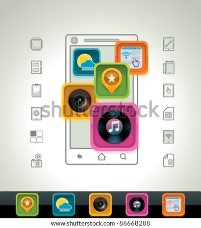 Vector smartphone icon - stock vector