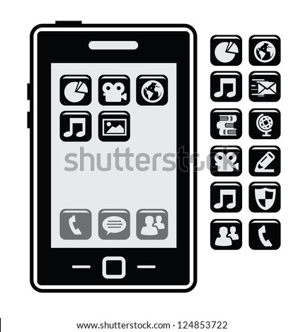 vector smartphone with black application icons set - stock vector