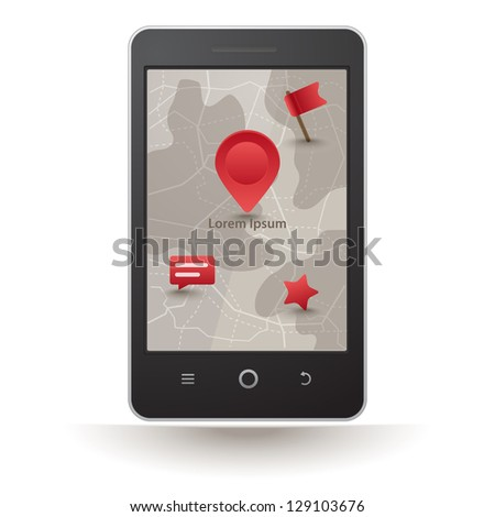Vector smartphone with navigation - stock vector