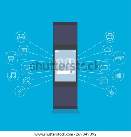 vector smartwatch wearable technology device, internet things - stock vector