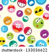 Vector smile icon seamless pattern - stock photo