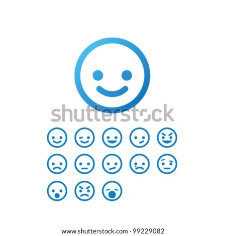 Vector Smile Icon Set - stock vector