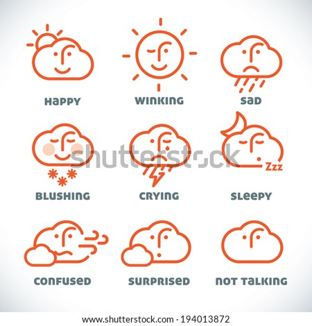 Vector Smiles Icons, Illustration, Sign, Symbol, Button, Badge, Logo for Family, Baby, Children, Teenager, People - stock vector