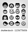Vector smiley faces. Funny characters. - stock