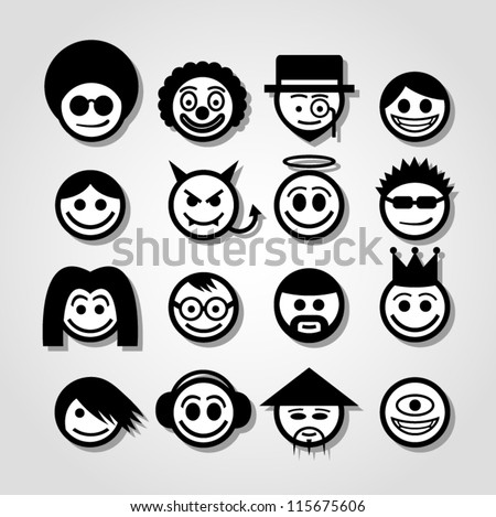 Vector smiley faces. Funny characters. - stock vector