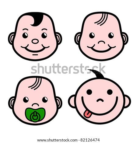 vector smiling cartoon happy baby faces stock vector royalty free