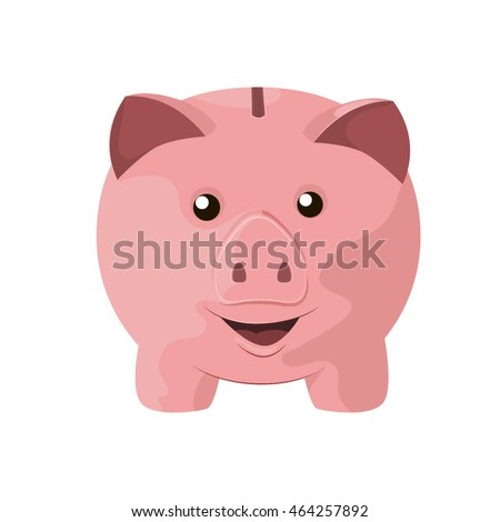 Vector smiling cartoon piggy bank character on white background.