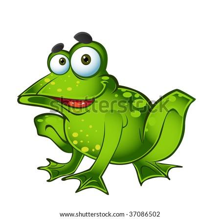 vector smiling green frog - stock vector