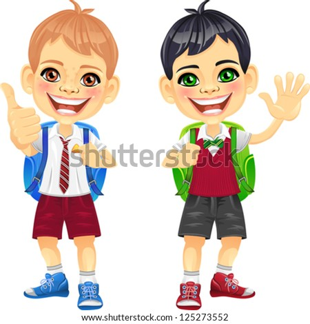 Vector Smiling happy brunette and brown schoolboys in a school uniform with a school backpack