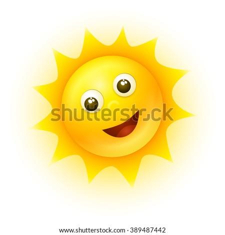 Vector smiling sun illustration. - stock vector