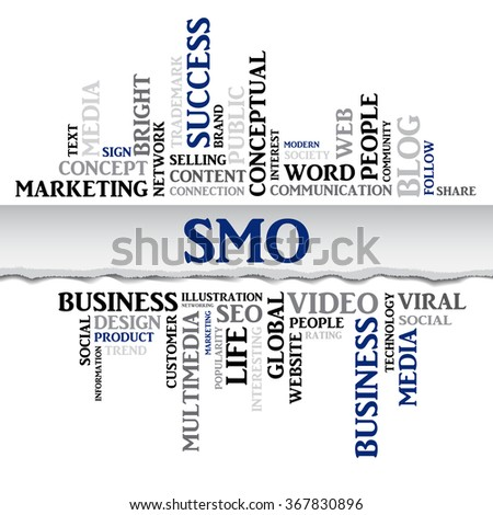 Vector SMO concept related words in tag cloud isolated on white, business concept, internet, trade. The effect of torn paper  - stock vector