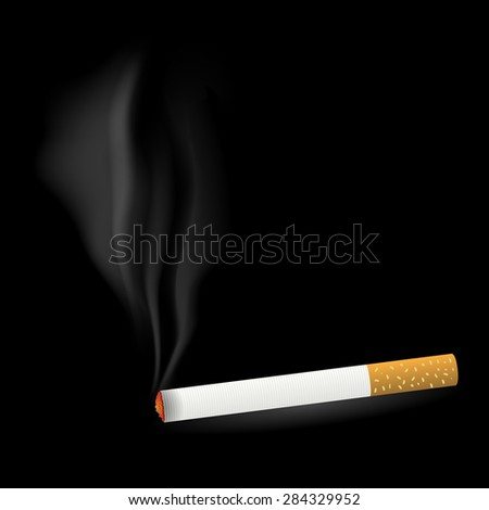 Vector Smoking Single Cigarette Isolated on Black Background - stock vector