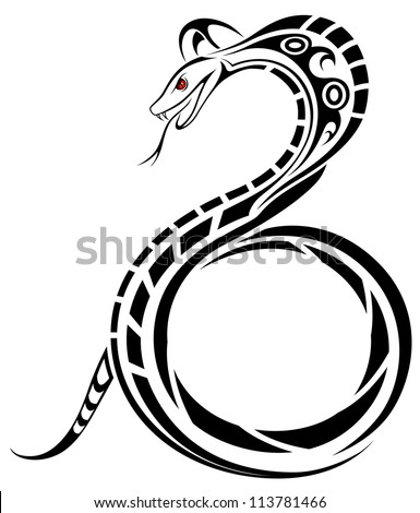 Vector Snake, Cobra in the form of a tattoo - stock vector