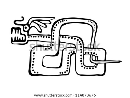 vector snake in american indians style - stock vector