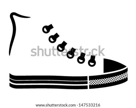 vector sneaker canvas shoe black icon - stock vector