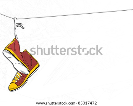 Vector - Sneakers Hanging on wire on White Background - stock vector
