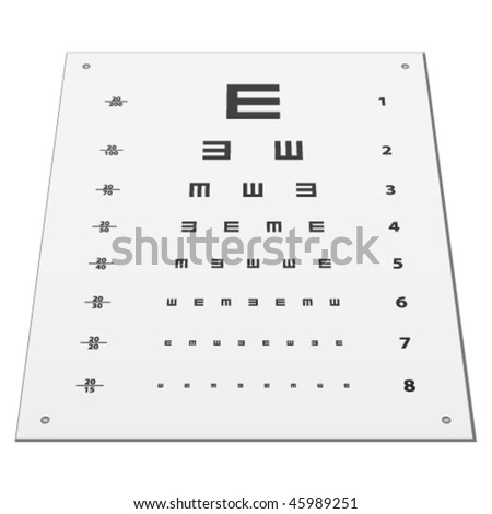 vector Snellen eye test chart - stock vector