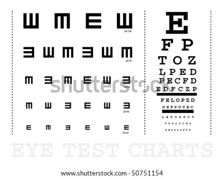 Vector Snellen eye test charts for children and adults - stock vector