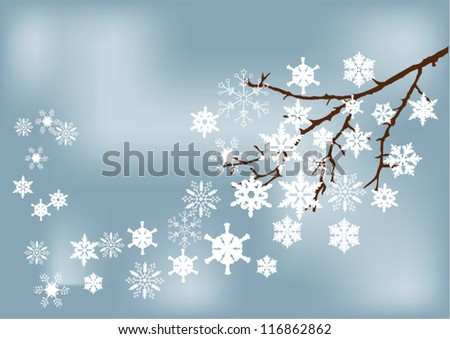 vector snow branch with snowflakes - stock vector