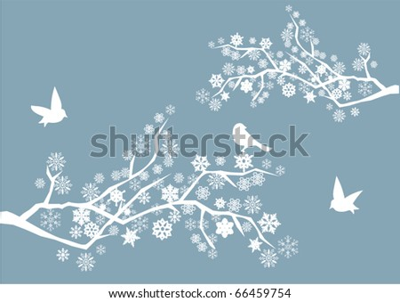 vector snow branches with birds - stock vector