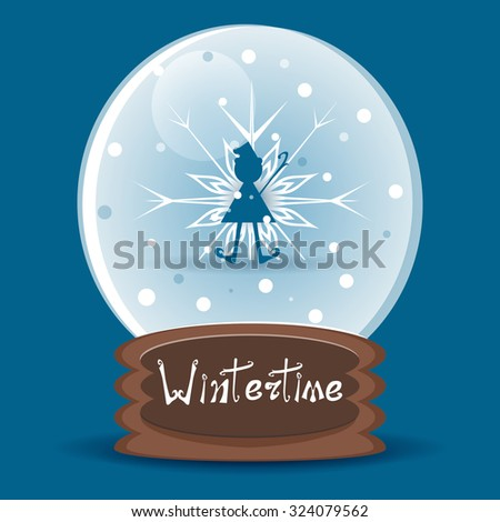 Vector snow globe with a silhouette of a Christmas elf - stock vector