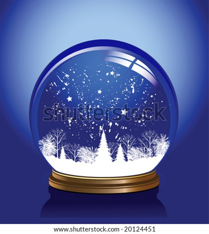Vector snow globe with a town in red color, vector illustration - stock vector