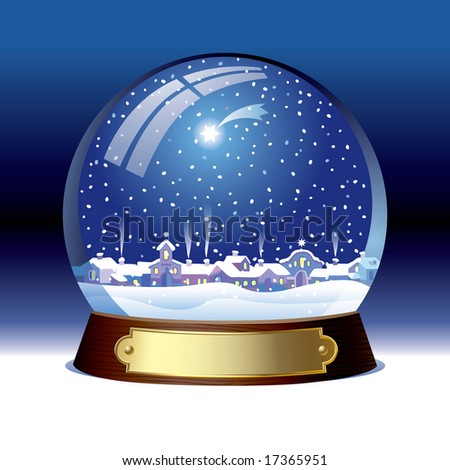 Vector snow globe with a town within - stock vector