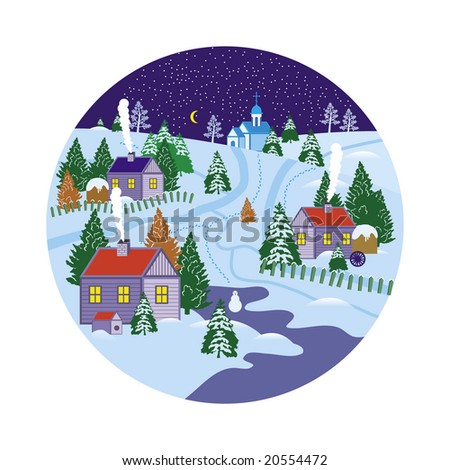 Vector snow globe with a village within