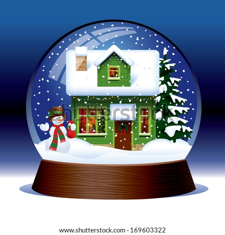 Vector snow globe with snowman, green wooden Christmas house covered with snow and spruce within against a dark blue background - stock vector