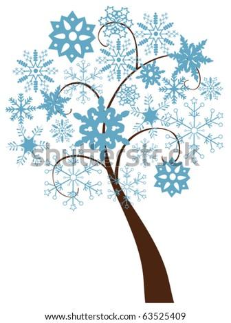 vector snow tree - stock vector