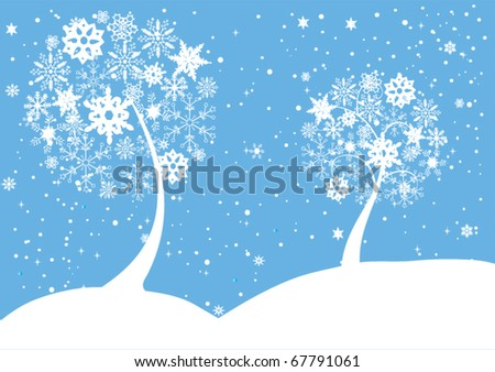 vector snow trees in snow - stock vector