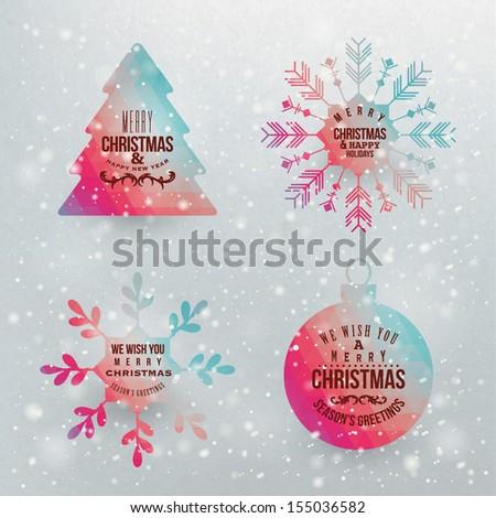 Vector snowflake and christmas shapes - stock vector