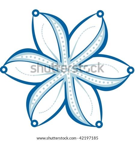 vector snowflake, blue flower - stock vector