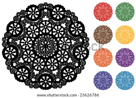 vector - Snowflake Design Lace Round Doily,  9 colors, white background, for celebrations, holidays, crafts, scrapbooks, setting table & cake decorating. EPS8 organized in groups for easy editing. - stock vector