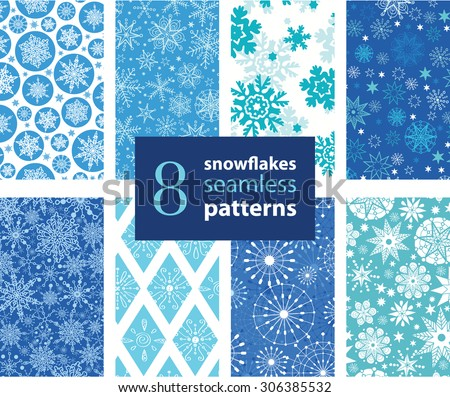 Vector Snowflakes Hand Drawn 8 Set Seamless Pattern - stock vector
