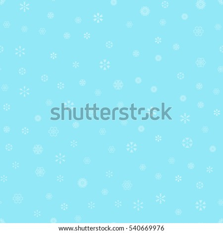 vector snowflakes seamless pattern - white snow on light blue background