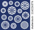 Vector snowflakes stickers set - stock vector