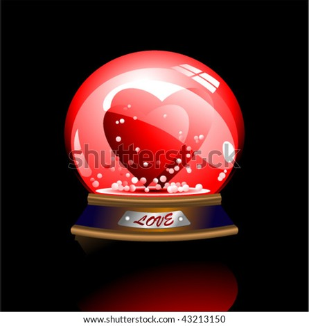 vector snowglob with two enamored heart - stock vector