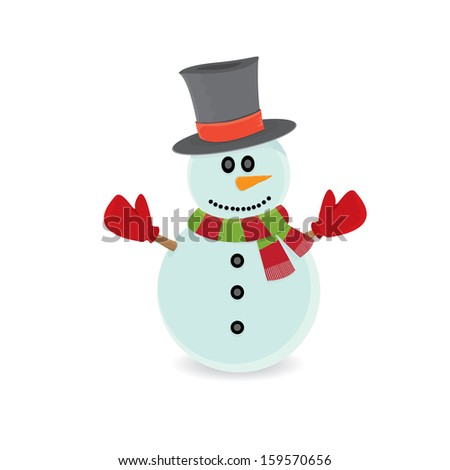 Vector snowman isolated on white. vector merry christmas background for greeting card or banner